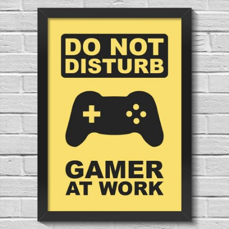 Poster A3 com Moldura Gamer at Work