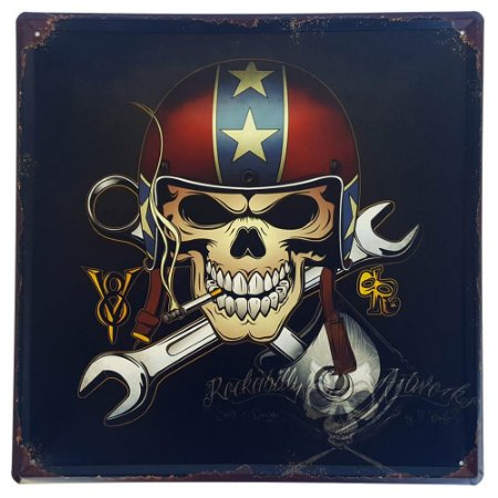 Placa de Metal Decorativa Skull - 30 x 30 cm