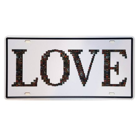 Placa de Metal Decorativa Love - 30,5 x 15,5 cm