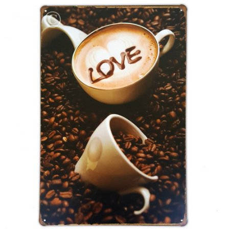 Placa de metal decorativa Retrô Love Coffee