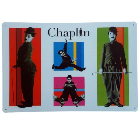 Placa de Metal Decorativa Chaplin - 30 x 20 cm