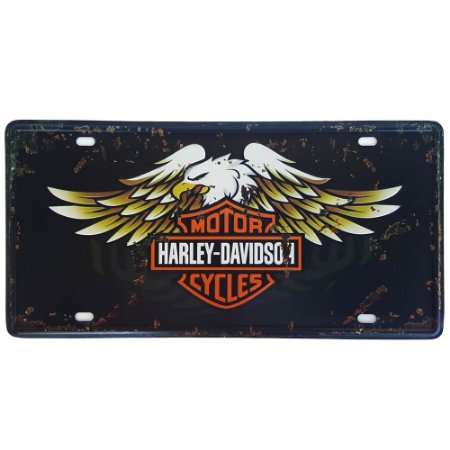 Placa de Metal Decorativa Harley Davidson Águia - 30,5 x 15,5 cm