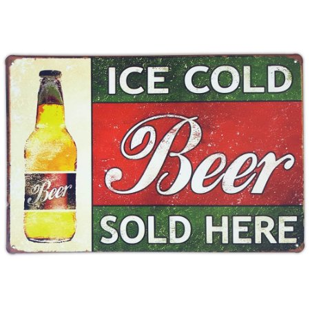 Placa de metal decorativa Retrô Ice Cold Beer Sold Here