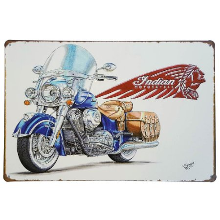 Placa de Metal Decorativa Indian Motorcycle - 30 x 20 cm