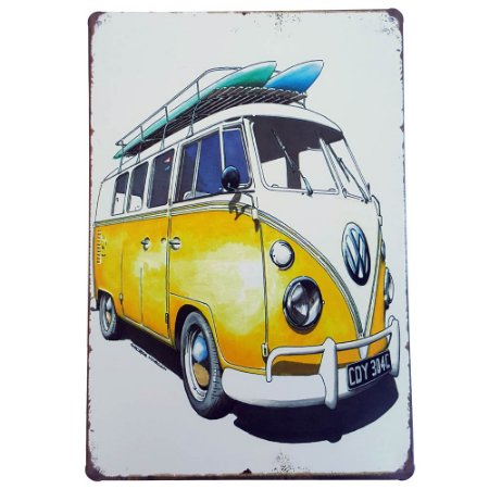 Placa de Metal Decorativa Kombi Surf - 30 x 20 cm