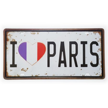 Placa de Metal Decorativa I Love Paris
