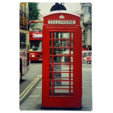 Placa de Metal Decorativa London Telephone - 30 x 20 cm