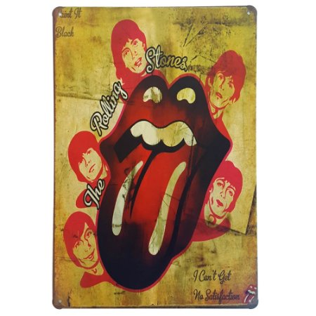 Placa de Metal Decorativa The Rolling Stones - 30 x 20 cm