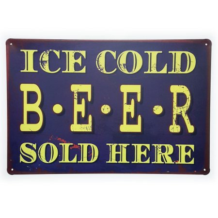 Placa de Metal Decorativa Ice Cold Beer Sold Here