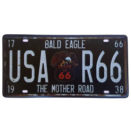 Placa de Metal Decorativa Bald Eagle Route 66 - 30,5 x 15,5 cm