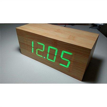 Relógio Despertador Madeira LED com Termostato