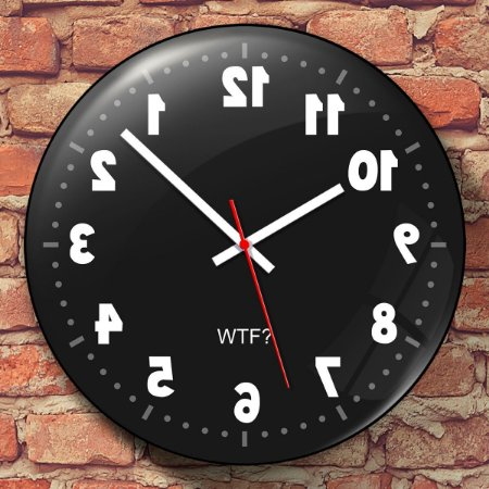 Relógio de Parede Geek Anti horário - 30 cm