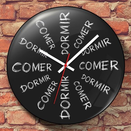 Relógio de Parede Comer dá Sono Dormir dá Fome - 30 cm
