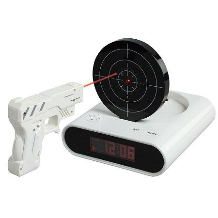 Relógio Despertador com Tiro Gun Alarm