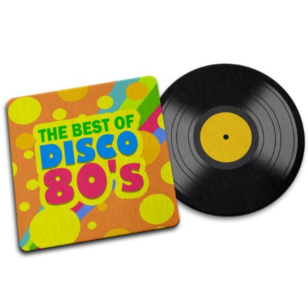 Par de Porta Copo Ecológico Imã Best of Disco 80s - Disco LP