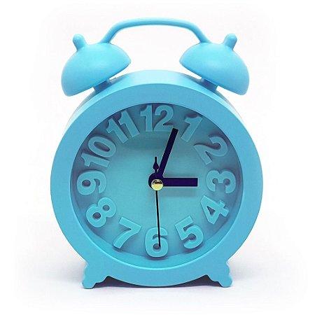 Relógio de mesa redondo com despertador - azul