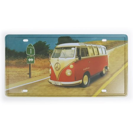 Placa de Metal Decorativa Kombi Califórnia - 30 x 15 cm