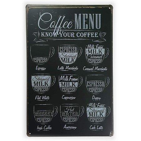 Placa de Metal Coffee Menu - 30 x 20 cm