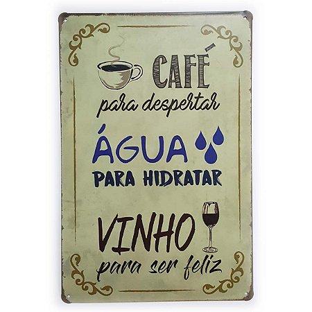 Placa de Metal Café Água e Vinho - 30 x 20 cm