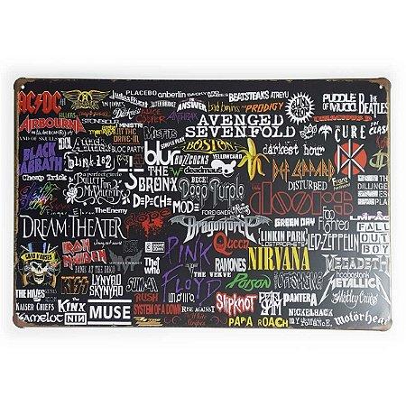 Placa de Metal Bandas - 30 x 20 cm