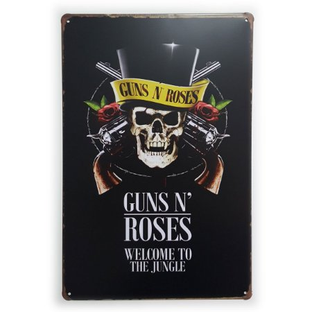 Placa de Metal Guns n' Roses Welcome to the Jungle - 30 x 20 cm