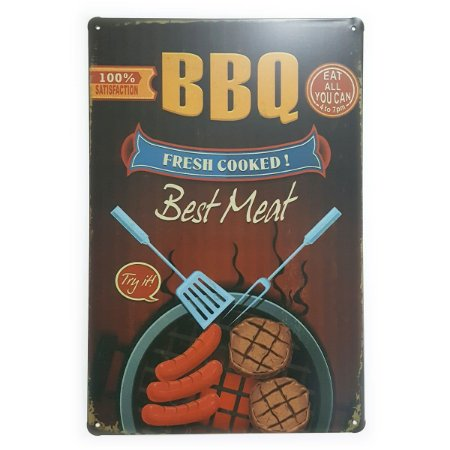 Placa de Metal BBQ Fresh Cooked - 30 x 20 cm