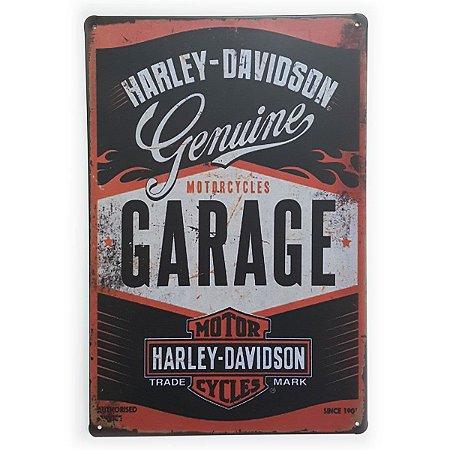 Placa de Metal Harley-Davidson Motorcycles Garage - 30 x 20 cm