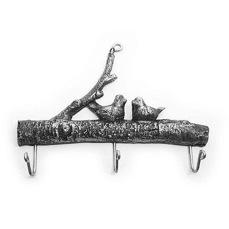 Cabideiro Porta Chaves Rústico Passarinhos - Resina cor prata