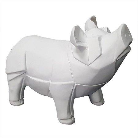 Escultura Porquinho Origami em Poliresina