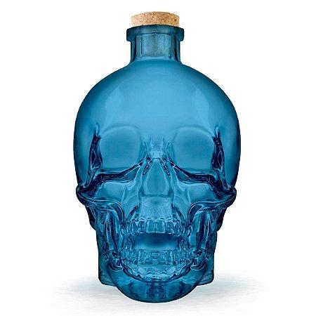 Garrafa de vidro Caveira Skull - azul