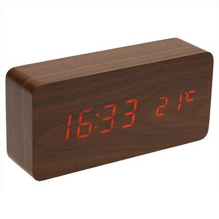 Relógio Despertador Madeira LED com Temperatura
