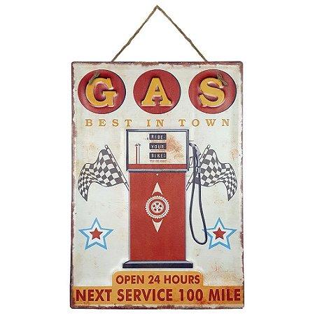 Placa de Metal Alto Relevo Gas