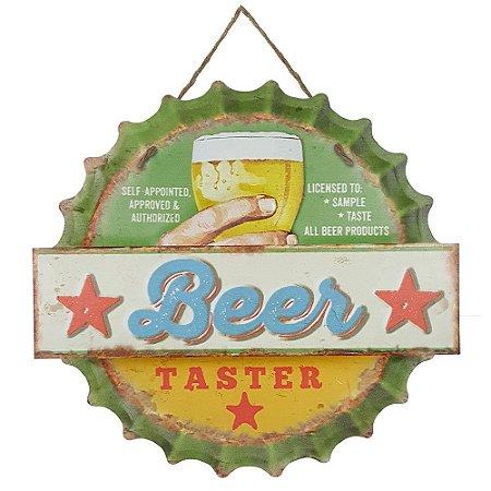 Placa de Metal Alto Relevo Beer Taster