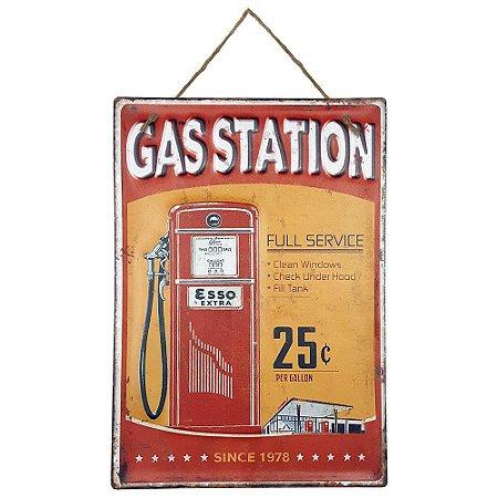 Placa de Metal Alto Relevo Gas Station