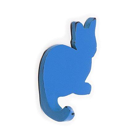 Cabideiro Porta Chaves Rústico Gatinho - azul
