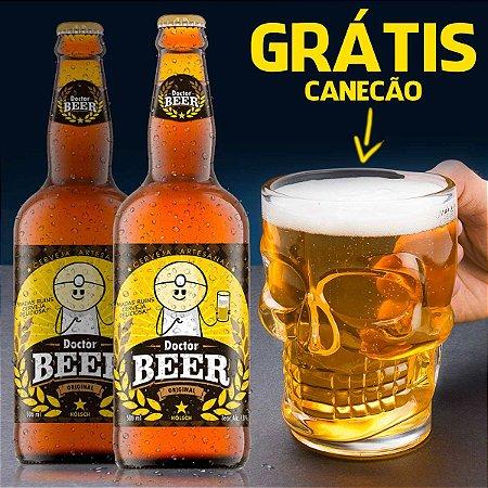 2 Cervejas DrPepper Dr Beer 500ml - GRÁTIS Canecão Caveira