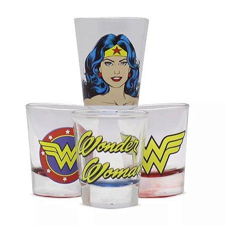 Jogo de copos Shot DC Comics Wonder Woman Mulher Maravilha