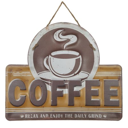 Placa de Metal Alto Relevo Coffee Relax and Enjoy