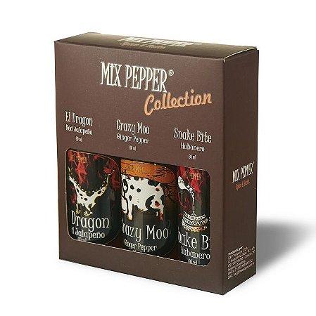 Kit Mix Pepper Collection com 3 molhos de pimenta 60ml