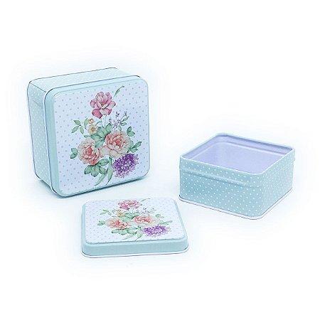 Jogo de latas Flores - 2 unidades
