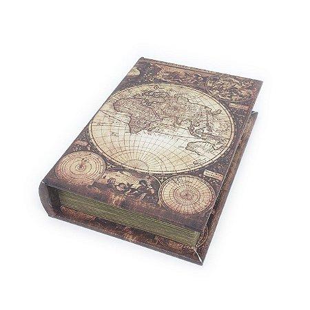Caixinha Livro Decorativa Mapa-múndi retrô - 18 x 13 cm