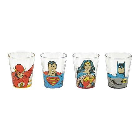 Set Copos Shot DC Comics Liga da Justiça - 4 peças
