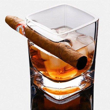 Copo para Whisky com Porta Charuto