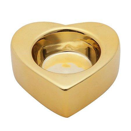Castiçal Shiny Heart Coração - dourado
