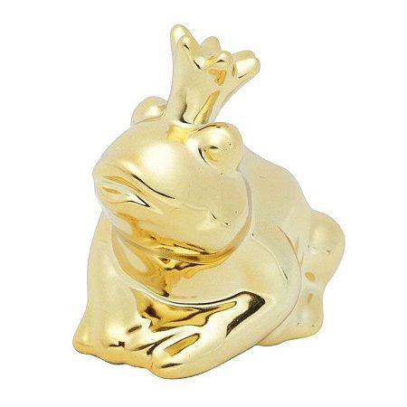 Enfeite de cerâmica Crown Frog Sapo - dourado