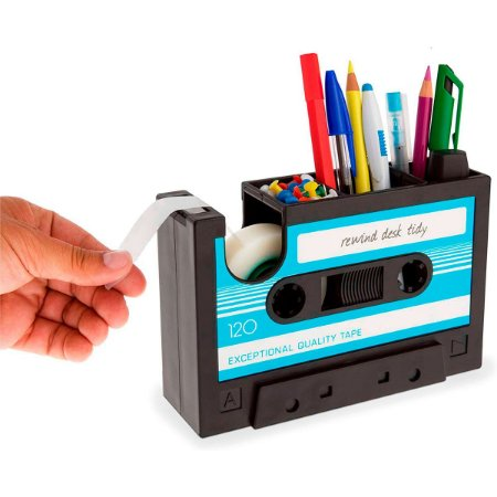 Porta Trecos com dispenser de fita adesiva Fita Cassete - azul