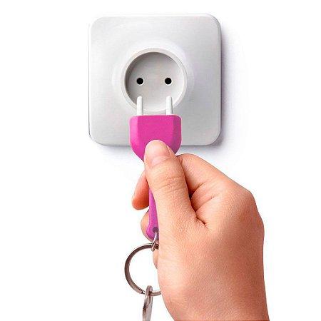 Chaveiro com Porta Chaves Tomada - rosa