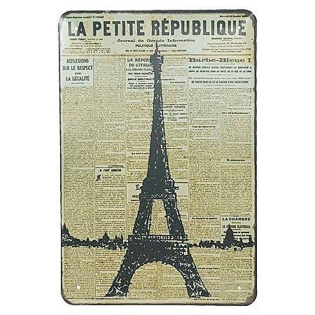 Placa de Metal París Torre Eiffel