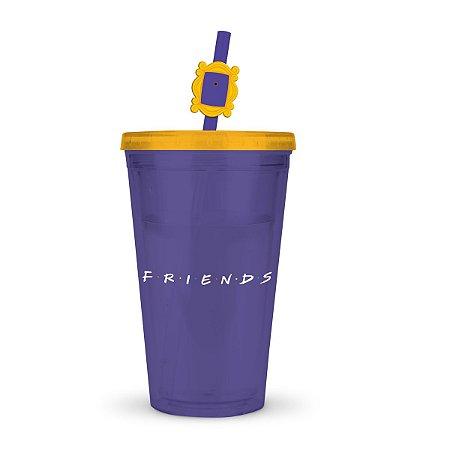 Copo Plástico Friends com canudo - 500 ml