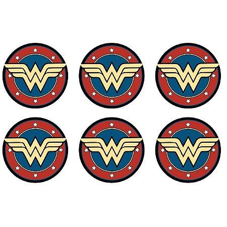 Set porta copos em cortiça Wonder Woman Logo